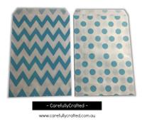 """Mini Favour Paper Bags 4"""" x 6"""" - Chevron, Polka Dot - Light Blue"""