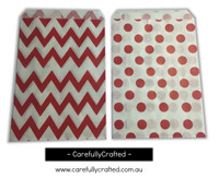 "Mini Favour Paper Bags 4"" x 6"" - Chevron, Polka Dot - Red"