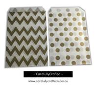 """Mini Favour Paper Bags 4"""" x 6"""" - Chevron, Polka Dot - Gold"""
