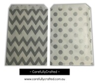 "Mini Favour Paper Bags 4"" x 6"" - Chevron, Polka Dot - Silver"