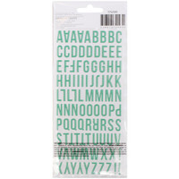 American Crafts - Memory Planner Puffy Alphabet Stickers - Coral/Green