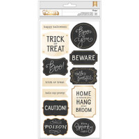 American Crafts - Midnight Haunting Phrase Thickers Stickers - Gold Foil Chipboard