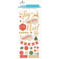 "Paper House Life Organized Puffy Sticker 6.5"" x 3""- Christmas"