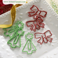 Webster Pages - A Christmas Story - Bow and Tree Paperclips - Set of  10