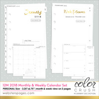 Webster Pages - Color Crush Personal Planner 12-Month Calendar Insert 2018
