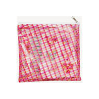 "Freckled Fawn - Printed Clear Plastic Zippered Pouch 8"" x 8"" - Plaid"