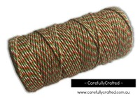 Baker's Twine 12 Ply - 100 Metre (110 Yards) Spool - Orange, Green and White #BT12-29