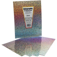 "Self-Adhesive Specialty Paper 8.5"" x 11"" - Silver Holographic"