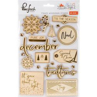 Pinkfresh Studio - Foiled Woodgrain Stickers - December Days