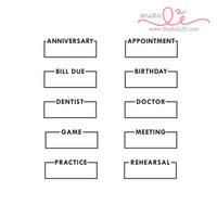 Studio l2e - Planner Stamps - Boxed Reminders 1