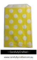 12 Favour Paper Bags - Polka Dot - Yellow  #FB2