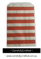 12 Favour Paper Bags - Horizontal Stripe - Orange  #FB6