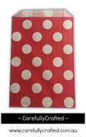 12 Favour Paper Bags - Polka Dot - Red  #FB8