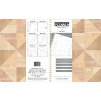 "American Crafts - 2018 Weekly/Monthly Planner 8.5"" x 11"" - Geo Wood Grain and Gold Foil"