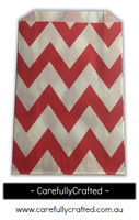 12 Favour Paper Bags - Chevron - Red  #FB11