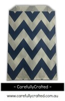 12 Favour Paper Bags - Chevron - Navy  #FB12