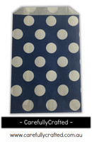 12 Favour Paper Bags - Polka Dot - Navy  #FB13