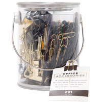American Crafts - Office Bucket Accessory - Set of 291 - Black & Gold