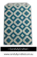 12 Favour Paper Bags - Mod Print - Dark Aqua #FB20