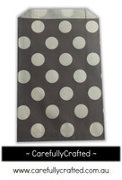 12 Favour Paper Bags - Polka Dot - Grey #FB22