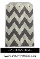 12 Favour Paper Bags - Chevron - Grey  #FB23