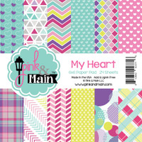 """Pink And Main Double-Sided Paper Pad 6"""" x 6"""" - My Heart - 24 Sheets"""