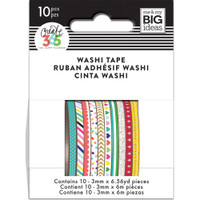 Me and My Big Ideas - The Happy Planner - Mini Washi Tape - 3mm - Set of 10 - Brights