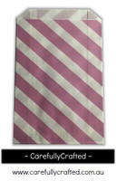 12 Favour Paper Bags - Diagonal Stripe - Mauve #FB34