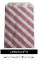 12 Favour Paper Bags - Diagonal Stripe - Mauve #FB34