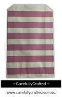 12 Favour Paper Bags - Horizontal Stripe - Mauve #FB35