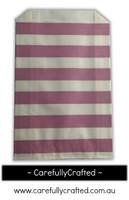 12 Favour Paper Bags - Horizontal Stripe - Mauve #FB35