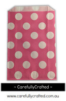 12 Favour Paper Bags - Polka Dot - Hot Pink #FB37