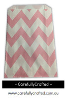 12 Favour Paper Bags - Chevron - Light Pink #FB39