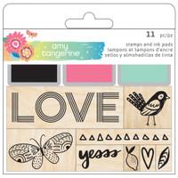 American Crafts - Amy Tangerine - Sunshine & Good Times - Wood Mounted Stamp Set
