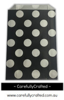 12 Favour Paper Bags - Polka Dot - Black #FB44
