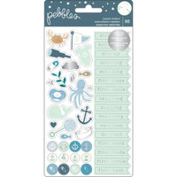 Pebbles - Night Night Baby Boy Repeat Stickers - Phrases & Icons with Silver Foil