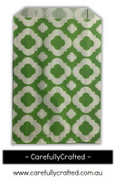 12 Favour Paper Bags - Mod Print - Green #FB46