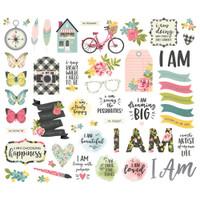 Carpe Diem - Simple Stories - I Am Bits & Pieces Die Cuts with Platinum Foil