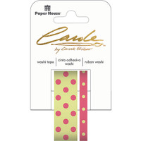 Paper House Washi Tape - Set of 2 - Dark Pink & Green Dots By Carol Shiber