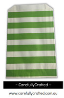 12 Favour Paper Bags - Horizontal Stripe - Green #FB49