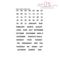 Studio l2e - Planner Stamps - Bold Dates