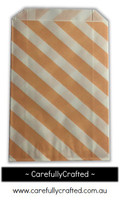 12 Favour Paper Bags - Diagonal Stripe - Peach #FB51