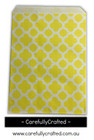 "12 Favour Paper Bags 5"" x 7"" - Quatrefoil - Yellow #FB56"