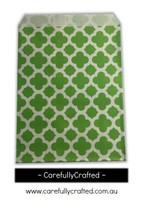 """12 Favour Paper Bags 5"""" x 7"""" - Quatrefoil - Green #FB61"""