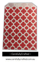 "12 Favour Paper Bags 5"" x 7"" - Quatrefoil - Red #FB62"