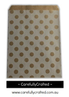 "12 Favour Paper Bags 5"" x 7"" - Polka Dots - Kraft #FB65"