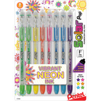 Pentel Solar Pop Neon Gel Pens .6mm - Set of 8