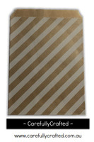 "12 Favour Paper Bags 5"" x 7"" - Oblique Stripe - Kraft #FB67"