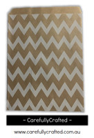 "12 Favour Paper Bags 5"" x 7"" - Chevron - Kraft #FB68"