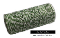 Baker's Twine 8 Ply - 100 Metre (110 Yards) Spool - Green and White #BT8-6